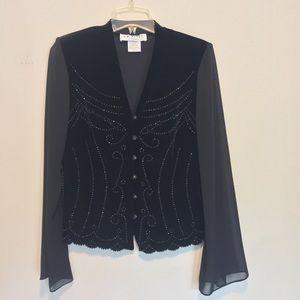 Vintage embellished black velvet blouse